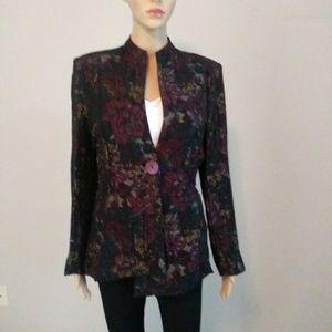 Cheryl Nash Floral Jacket Size L